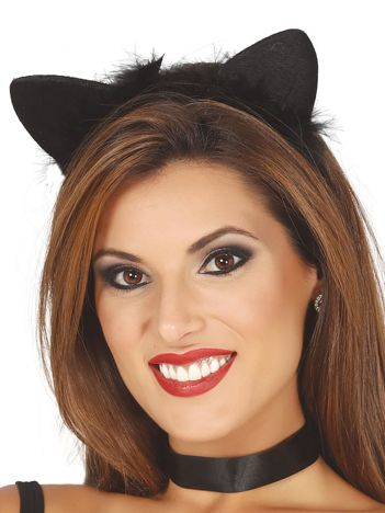 Czarna opaska karnawałowa Kocie uszy