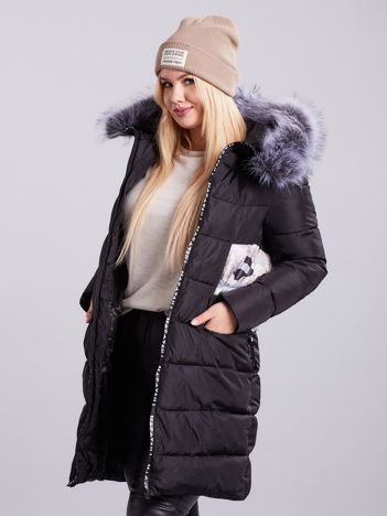 Czarna pikowana kurtka zimowa PLUS SIZE