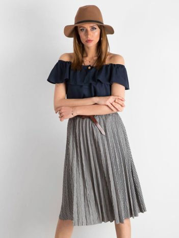 Czarna plisowana spódnica midi w paski