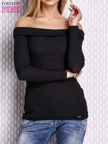 Czarna prążkowana bluzka z hiszpańskim dekoltem