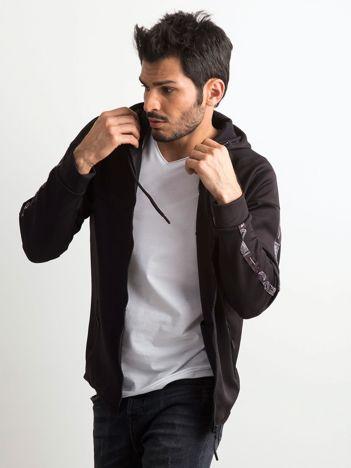 Czarna rozpinana bluza męska z kapturem
