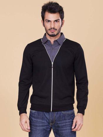 Czarna rozpinana bluza męska z koszulą