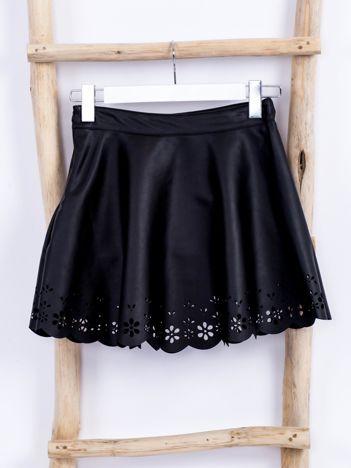 Czarna spódnica dla dziewczynki z ekoskóry