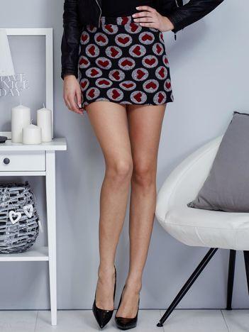 Czarna spódnica mini w serduszka