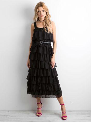 Czarna sukienka damska z falbanami
