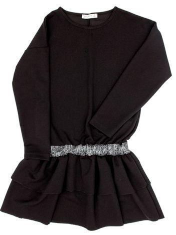 Czarna sukienka dla dziewczynki z falbanami