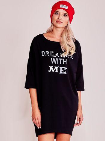 Czarna sukienka dresowa z nadrukiem