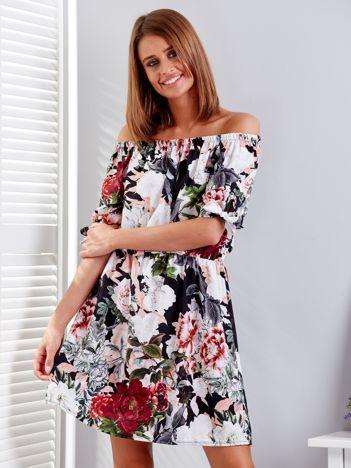 Czarna sukienka hiszpanka w kwiatowe desenie