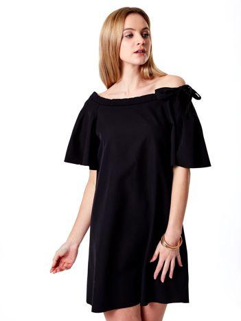 Czarna sukienka hiszpanka z kokardą