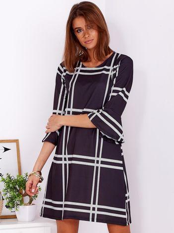Czarna sukienka w geometryczny nadruk