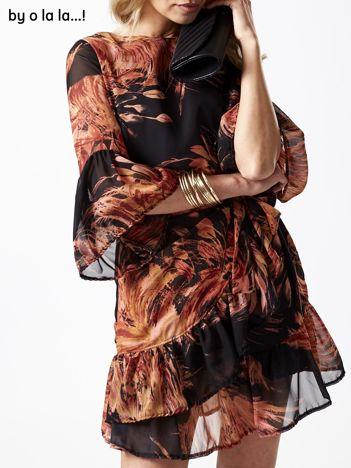 Czarna sukienka w roślinne wzory BY O LA LA