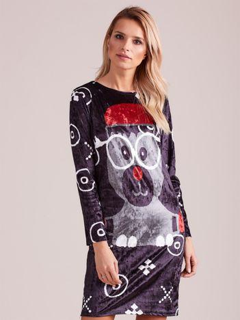 Czarna świąteczna sukienka z reniferem