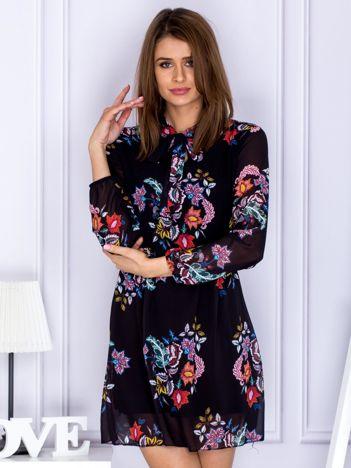 Czarna szyfonowa sukienka floral print