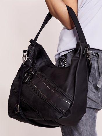 Czarna torba city bag z ozdobnym modułem