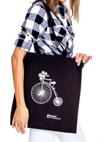 Czarna torba materiałowa z rowerem