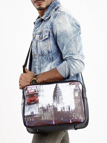 Czarna torba męska na ramię z motywem Londynu