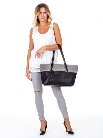 Czarna torba shopper z materiałową wstawką
