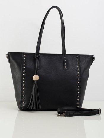 Czarna torba shopperka z ekoskóry
