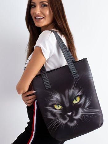Czarna torba z nadrukiem kota