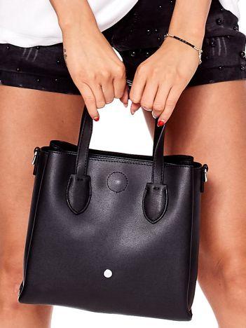 Czarna torba ze skóry ekologicznej z odpinanym paskiem