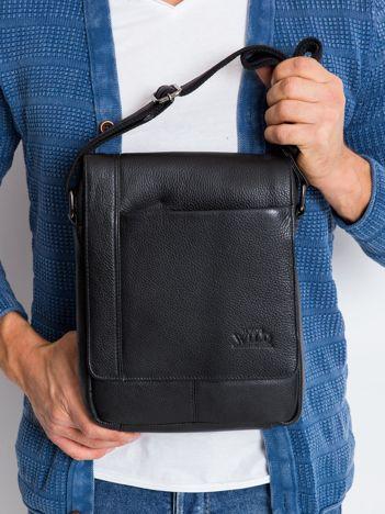 Czarna torebka męska skórzana