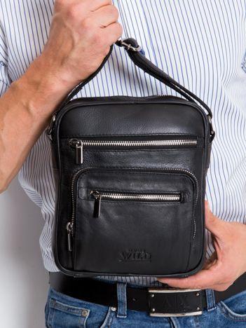 Czarna torebka męska z naturalnej skóry