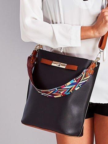 Czarna torebka z odpinanym azteckim paskiem