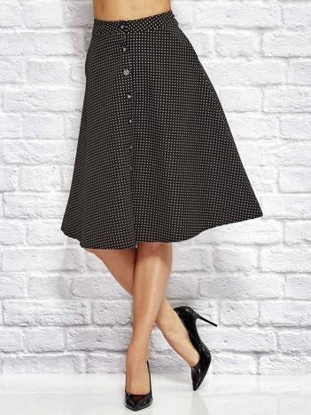 Czarna trapezowa spódnica w drobny graficzny wzór
