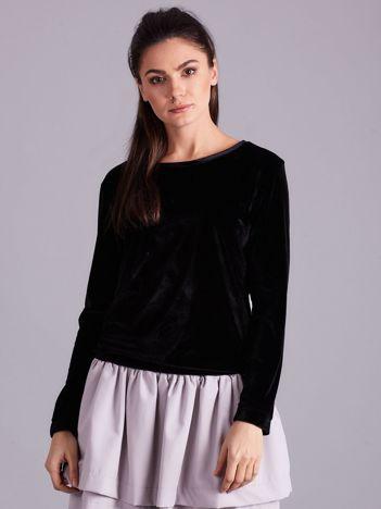 Czarna welurowa bluza damska