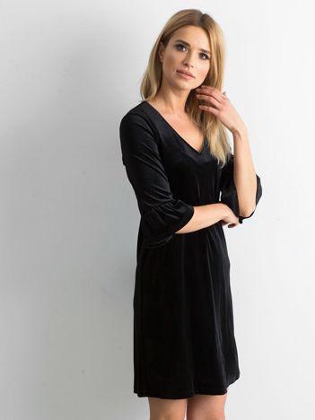 Czarna welurowa sukienka damska
