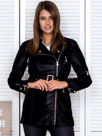 Czarna woskowana kurtka z paskiem
