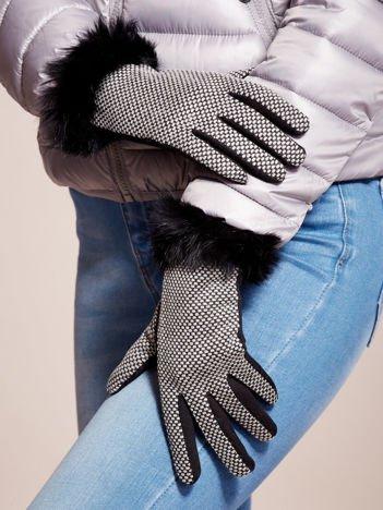 Czarne Damskie Rękawiczki W Pepitkę z Ozdobnym Futerkiem