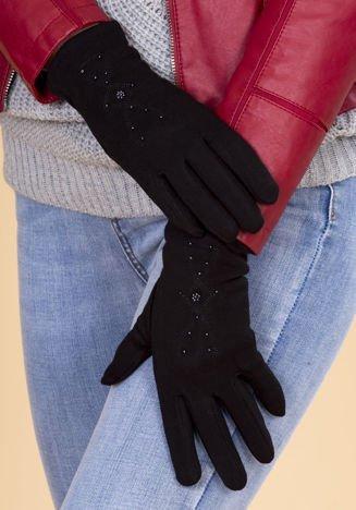 Czarne Rękawiczki Damskie Ze Zdobieniami