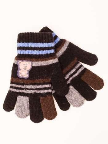 Czarne WEŁNIANE Dziecięce Rękawiczki z MISIEM 16,5cm (5-9lat)