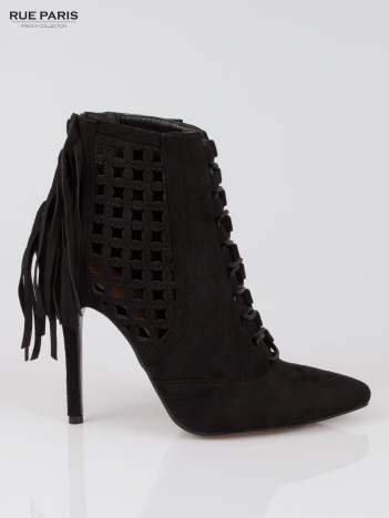 Czarne ażurowe botki faux suede Florence z frędzlami