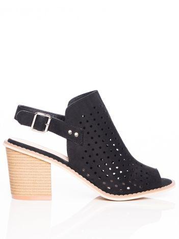 Czarne ażurowe sandały Sergio Leone na szerokim klocku