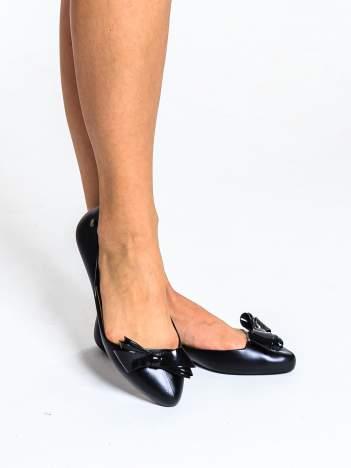 Czarne baleriny silicone Naomi gumowe z kokardą
