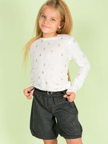 Czarne bawełniane szorty dla dziewczynki w pepitkę