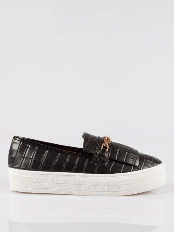Czarne buty slip on Judith crocodile skin ze złotym łańcuchem