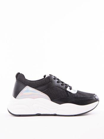 022f397a0ac364 Czarne buty sportowe IDEAL SHOES z błyszczącą nitką na sprężystej podeszwie