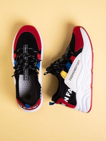 Czarne buty sportowe na wysokiej podeszwie z kolorowymi szlufkami