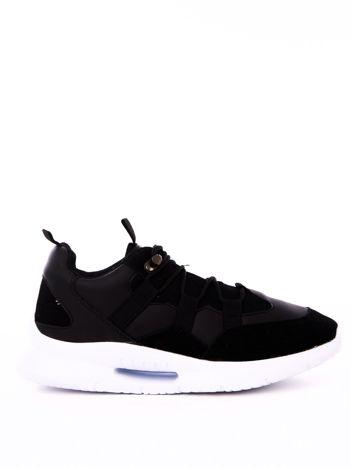 Czarne buty sportowe z ozdobnym sznurowaniem i sprężystą podeszwą