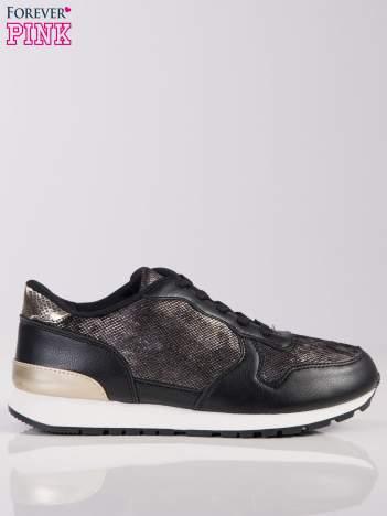 Czarne buty sportowe z wstawką z efektem rybiej łuski