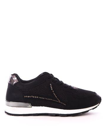 Czarne buty sportowe ze sprężystą podeszwą i ażurowa cholewką