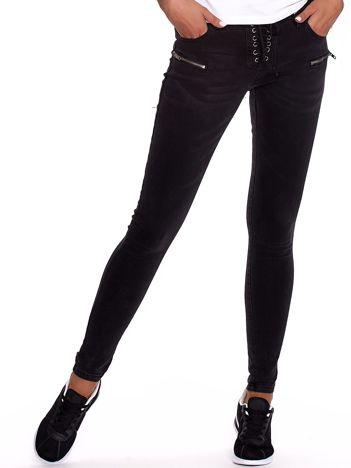 Czarne dopasowane spodnie ze sznurowaniem