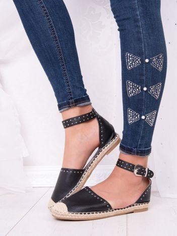 Czarne espadryle Best Shoes z eco skóry z nitami