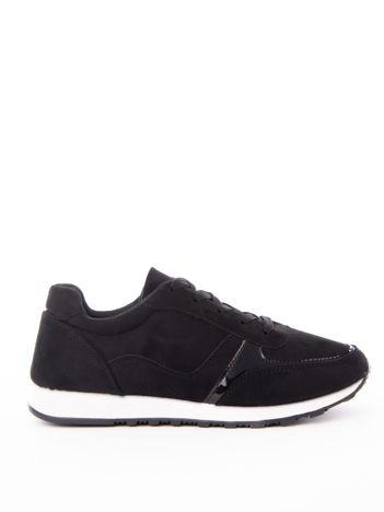 Czarne gładkie buty sportowe z ekoskóry