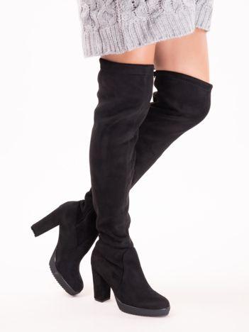 Czarne kozaki za kolana ze ciągaczem z ecozamszu