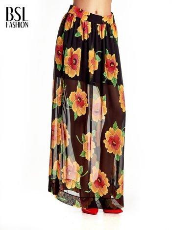 Czarne kwiatowe zwiewne spodnie culottes