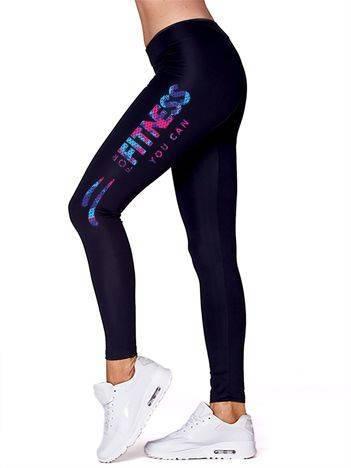 Czarne legginsy sportowe z fitnessowym nadrukiem